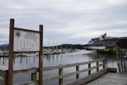 Stensland Bayside Float Ketchikan Alaska with view of Celebrity Millennium Cruise Ship