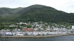 Tree Lined Hill Behind Ketchikan Alaska