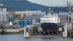 Tustumena Ship Being Serviced at Ketchikan Shipyard